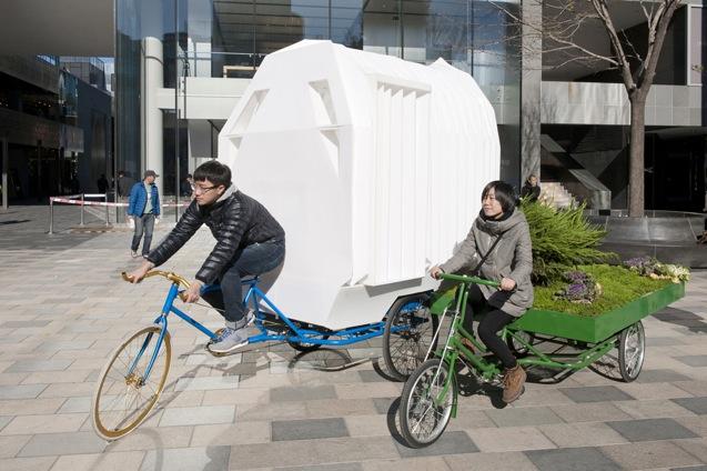 Rad-Haus mit Garten beim Fahren