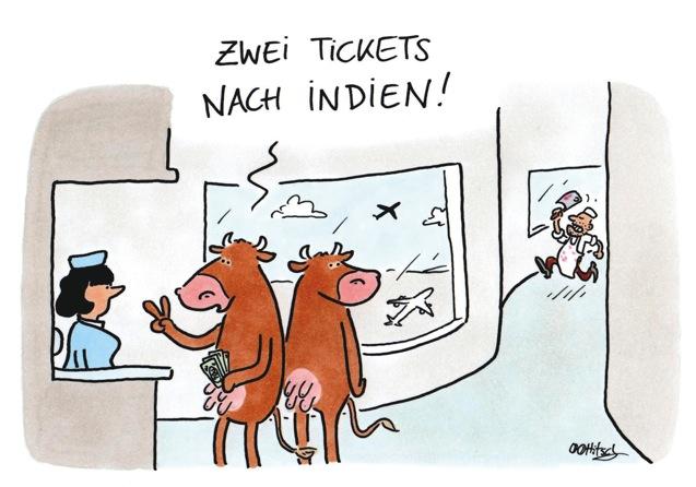 Noahs Fleischwaren zwei Tickets nach Indien
