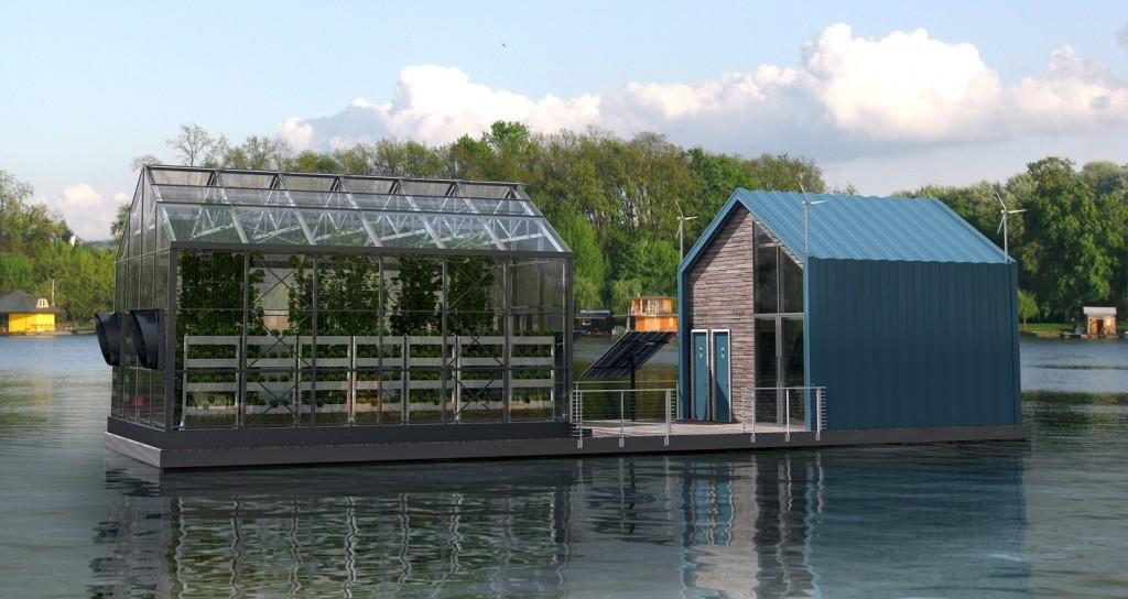 Schwimmende Urban Farm
